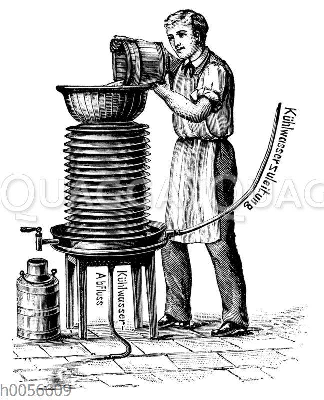 Cylinder-Berieselungskühlapparat' zum Einsatz in der Molkerei