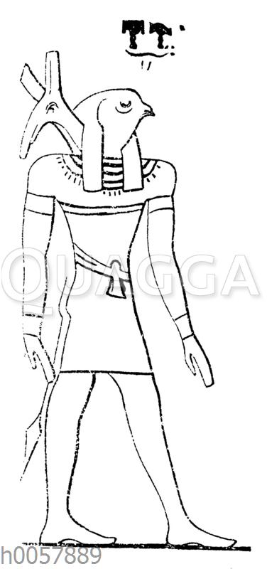 Gott mit zwei Köpfen: mit dem Kopf des Horus und des Seth-Typhon