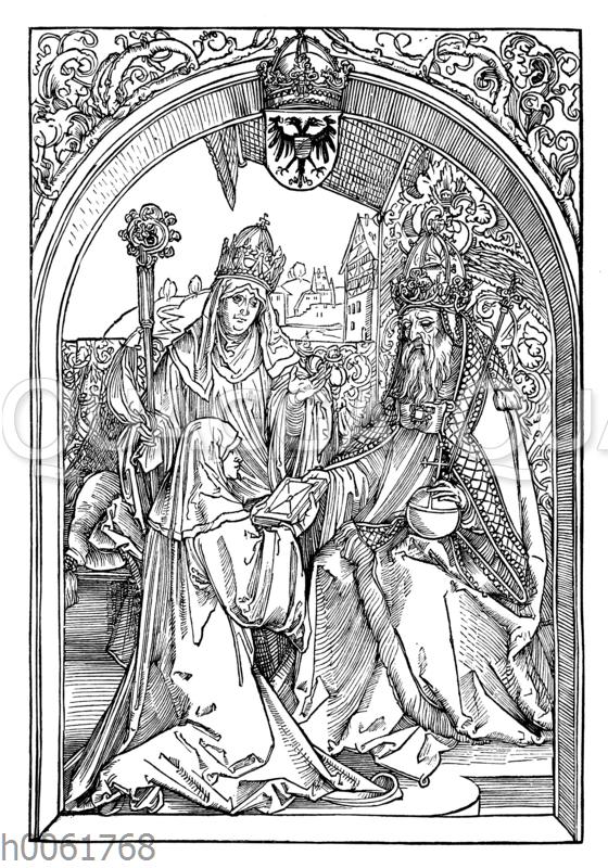 Roswit überreicht Otto dem Großen und dem Erzbischof Wilhelm von Mainz ihre Werke