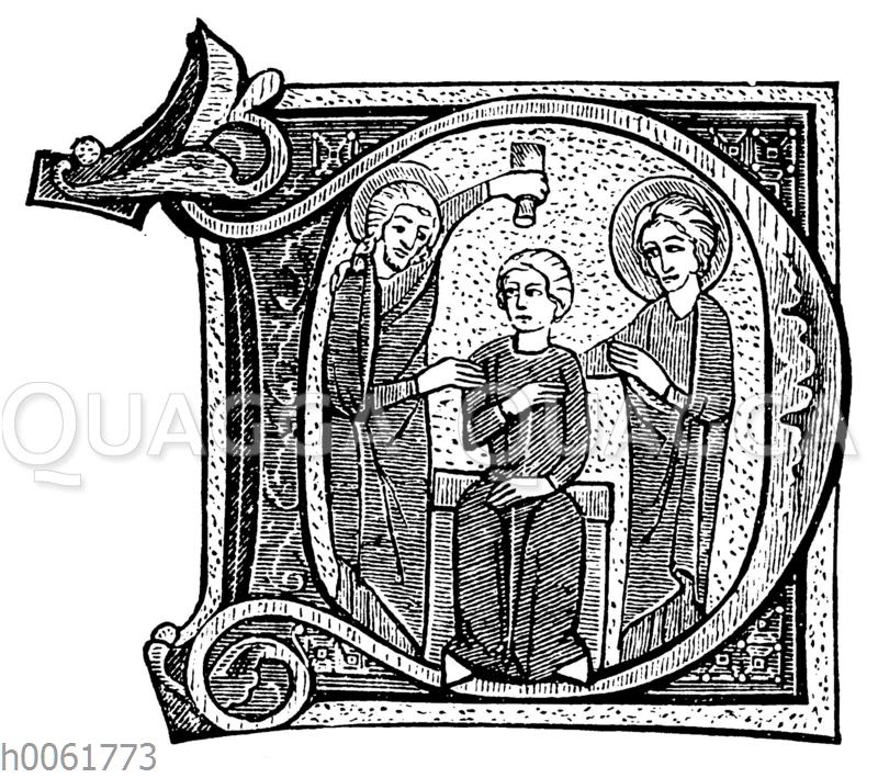 Verziertes D aus einem Psalterium des XIII Jahrh. im Germanischen Museum zu Nürnberg