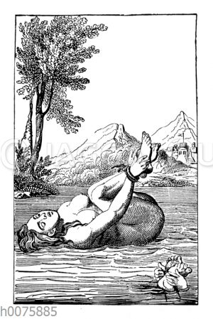 Die Hexenprobe. Nach einem Holzschnitt aus dem 16. Jahrhundert