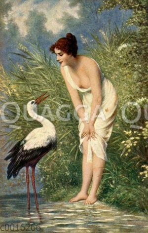Junge Frau und Storch am Wasser