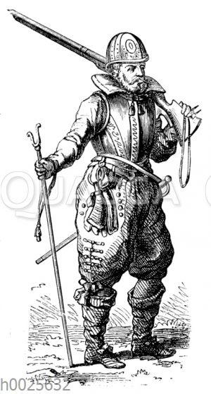 Musketier aus dem ersten Viertel des 17. Jahrhunderts