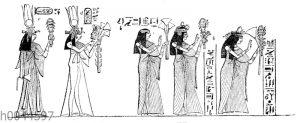 Ägyptische Frauen beim Tempeldienst mit dem Sistron