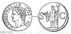 Erzmünze mit dem Porträt des Agrippa (Marcus Vipsanius Agrippa)