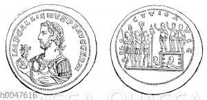 Porträt des Gallienus auf einem Bronzemedaillon. Auf der Rückseite Valerianus und Gallienus in der adlocutio. Am Fuß der Estrade zwei germanische Gefangene