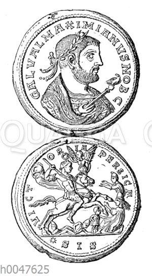 Bronzemedaillon mit dem Bildnis des Galerius. Auf der Rückseite der Feldzug gegen den Perserkönig Narses. Nach Friedländer