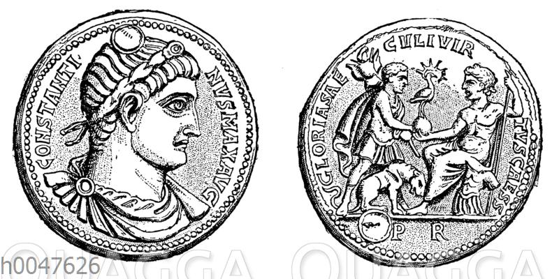 Bronzemedaillon mit dem Porträt des Constantinus