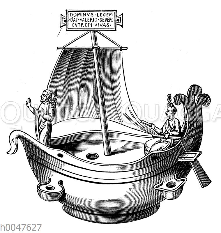 Altchristliche Lampe aus Bronze. (4. Jahrhundert)