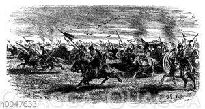Reiter beim Angriff