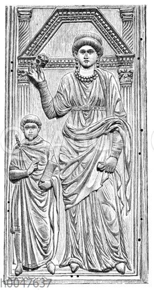 Galla Placidia und ihr junger Sohn Valentinian III.