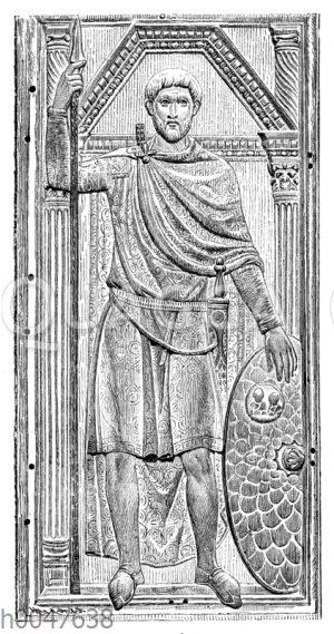 Aëtius. Reliefbildnis von dem zeitgenössischen elfenbeinernen Didtychon im Domschatz zu Monza