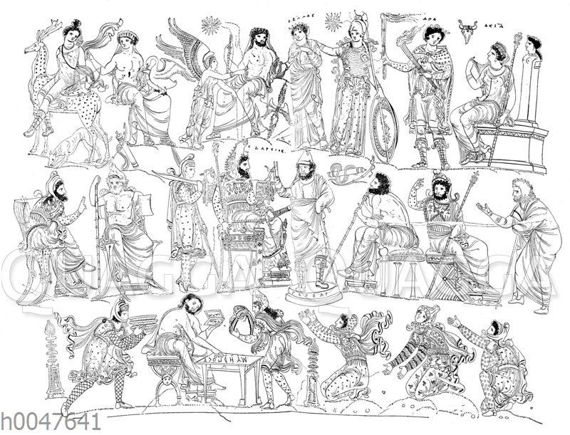 Darstellungen auf der sog. Dariusvase aus dem 3. Jh. v. Christus