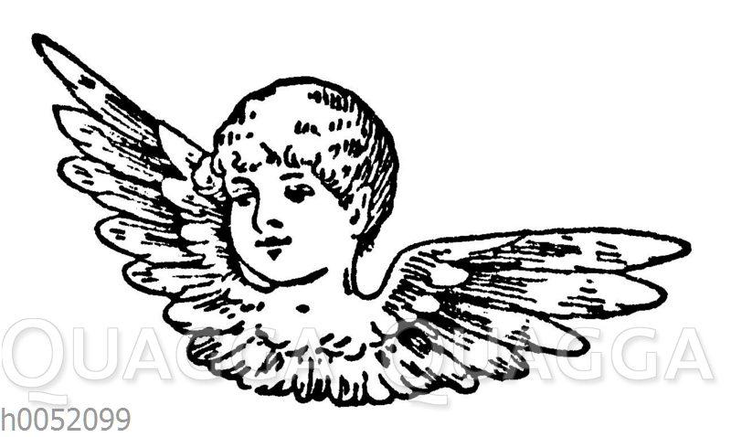 Vignette: Engelskopf mit Flügeln