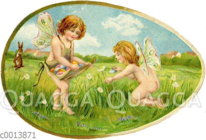 Zwei Engel oder Elfen verstecken Ostereier