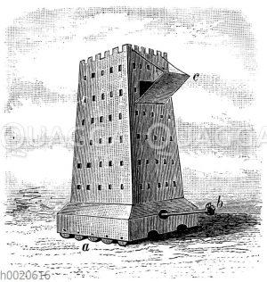 Helepole oder Wandelturm. a Räder oder Rollen. b Sturmbock. c Fallbrücke
