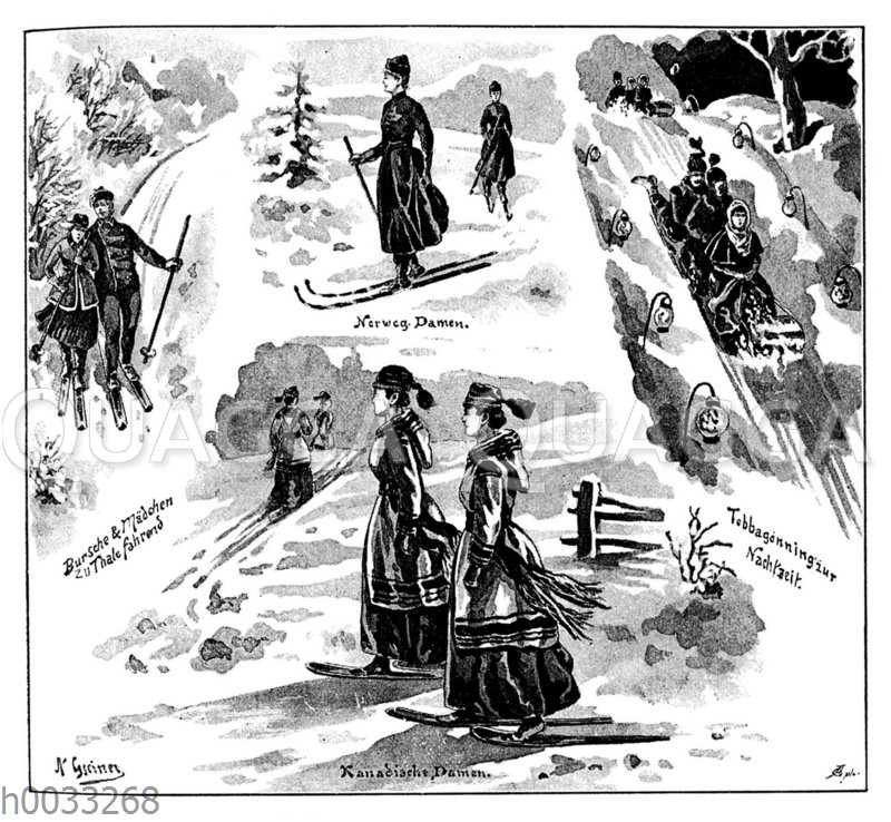 Schneeschuhlaufende Damen
