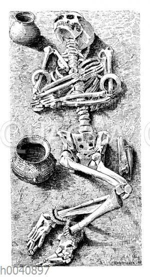 Skelettgrab mit Beigaben aus der Steinzeit