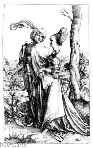 Edelmann und Dame promenierend. Hinter dem Baumstamm der Tod mit dem Stundenglas