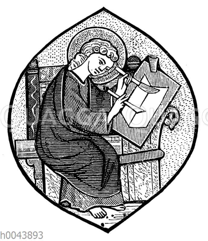 Schreibender Evangelist (St. Johannes) nach einer Miniatur des 13. Jahrhunderts