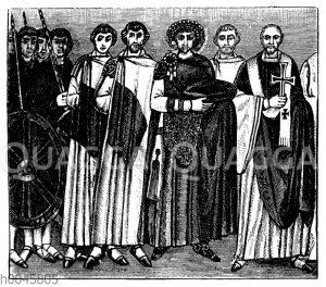 Kaiser Justinianus mit Gefolge u. Bischof Maximianus