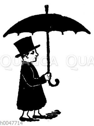 Vignette: Mann mit Schirm