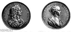 Englische Denkmünze auf die Vermählung Karls II. mit Katharina von Portugal aus dem Jahre 1661
