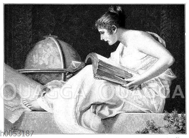 In einem Folianten lesende Frau mit Globus