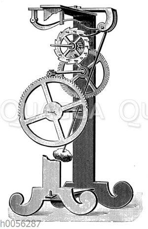 Apparat zur Demonstration der Einwirkung des Pendels auf die Hemmung der Uhr