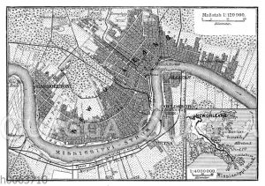 Situationsplan von New Orleans um 1888