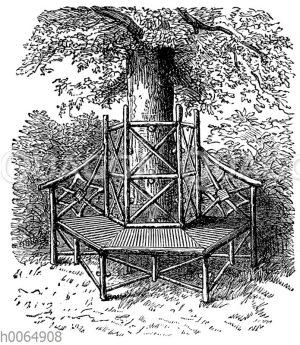 Hölzerne Sitzbank unter einem Baum