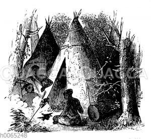 Indianer am Zelt