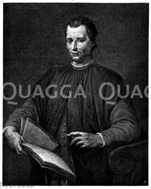 Niccolo Machiavelli. Nach dem Gemälde von Santo de Tito gestochen von B. Toschi
