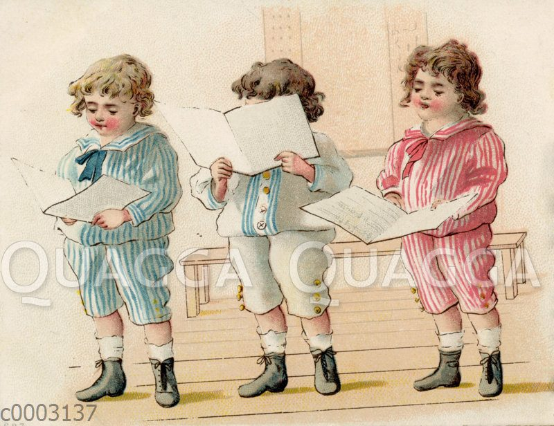 Drei Jungen im Matrosenanzug singen