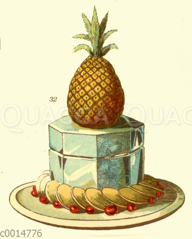 Eisbombe Ananas auf Eisblock