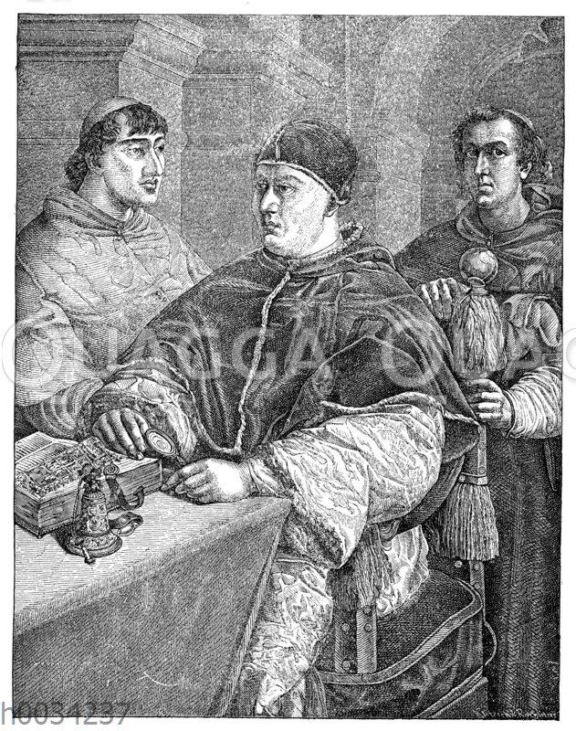 Papst Leo X (1513-1521) mit zwei Kardinälen
