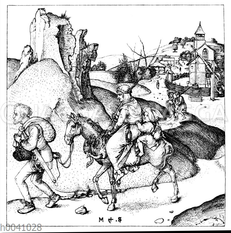 Zu Markte ziehende Bauern_ um die Mitte des fünfzehnten Jahrhunderts