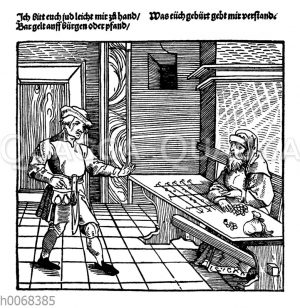 Bauer und jüdischer Geldverleiher