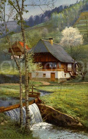 Schwarzwaldhaus an einem Bach