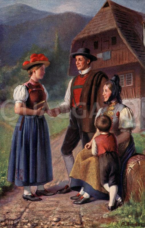 Schwarzwald: Familie in Tracht vor Schwarzwaldhaus