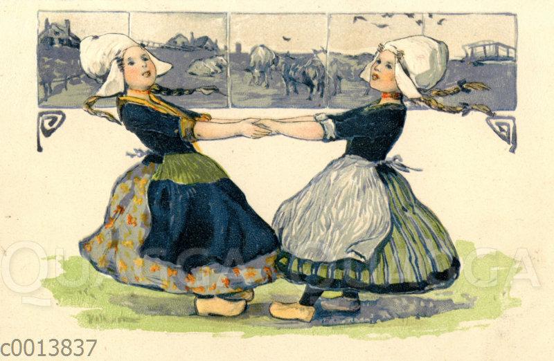 Mädchen in holländischer Tracht und Holzschuhen tanzen