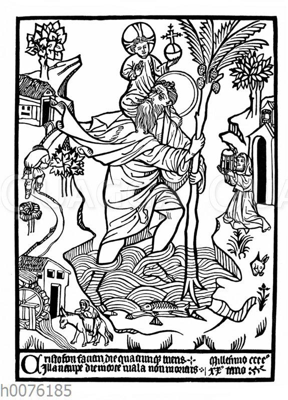 Hl. Christophorus mit Jesus auf der Schulter. Langa