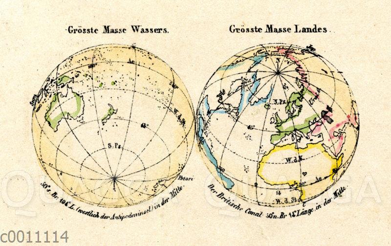 Erdkugel: Abbildung der größten Wassermasse und der größten Landmasse