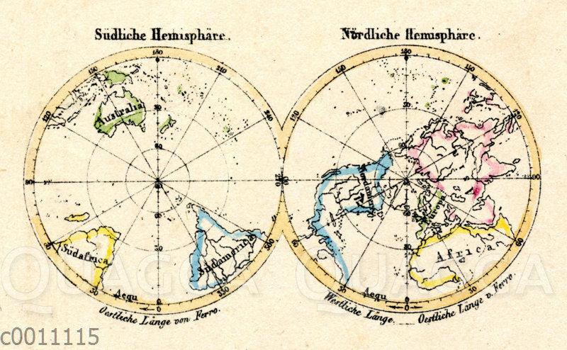 Weltkarte: Südliche und Nördliche Hemisphäre