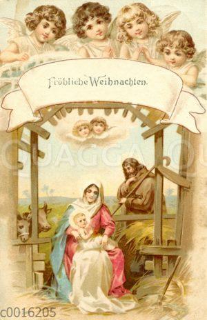 Die heilige Familie im Stall von Bethlehem