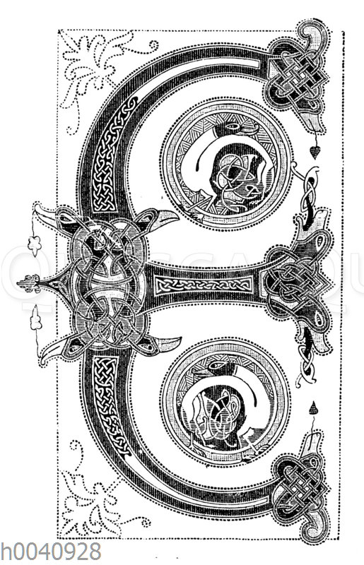 Initiale E in einer für Karl den Kahlen geschriebenen Bibel