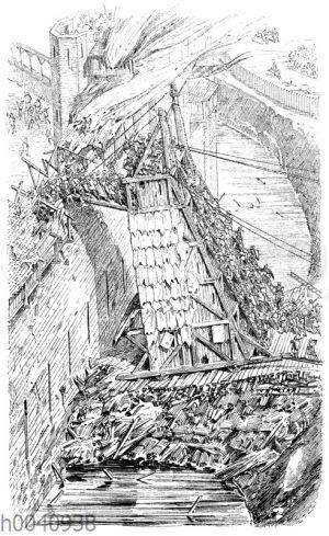 Angriff und Verteidigung einer Stadtmauer im 12. Jahrhundert