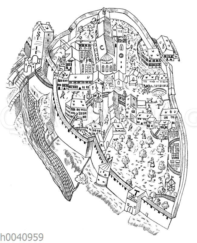Älteste Ansicht des Klosters St. Gallen