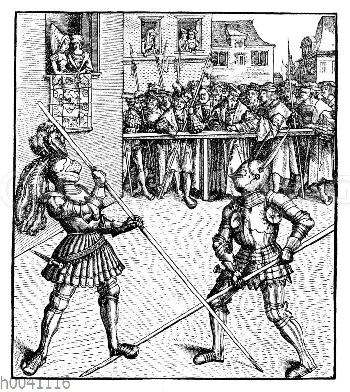 Maximilian im Lanzenturnier zu Fuß