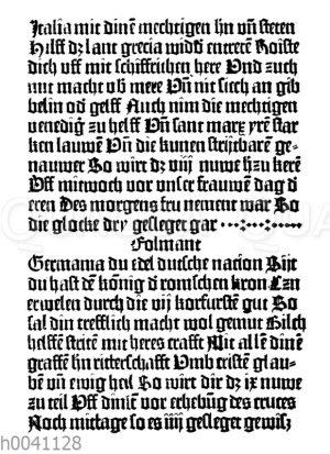 """Seite aus dem ersten mit beweglichen Lettern gedruckten Buche: """"Eine Mahnung der Christenheit wider die Türken"""""""